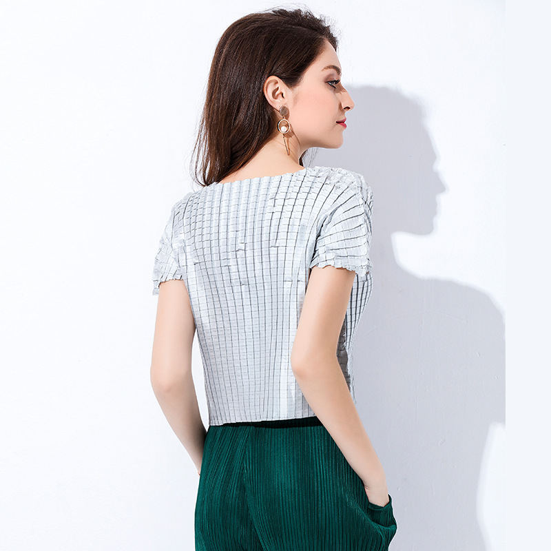 High Quality Women Fashion New Spring Summer Pleated Solid Color Short Sleeved Casual Pullover Tidal Silver T shirts