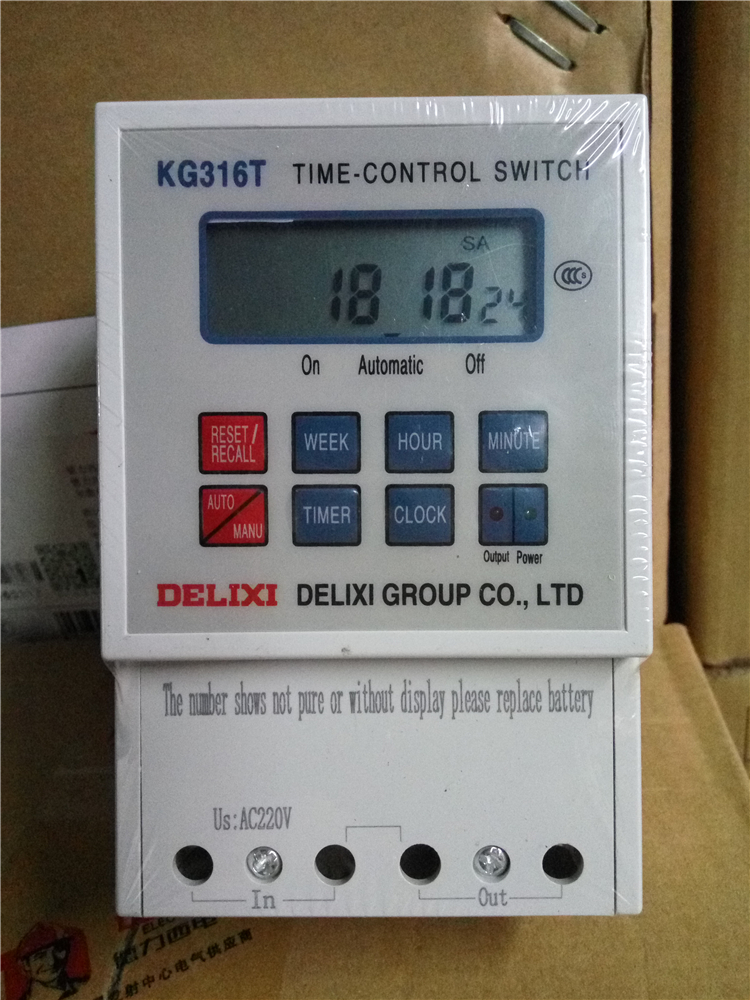 1 pcs KG316T Microcomputer AC 220V 50HZ/60HZ 25A Din Rail Digital Timer Switch Delixi English Version with Englih Manual tp760 765 hz d7 0 1221a