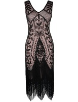 PrettyGuide Women 1920s Gatsby Downton V Neck Sexy Backless Sequin Tassle Hem Flapper Cocktail Dress