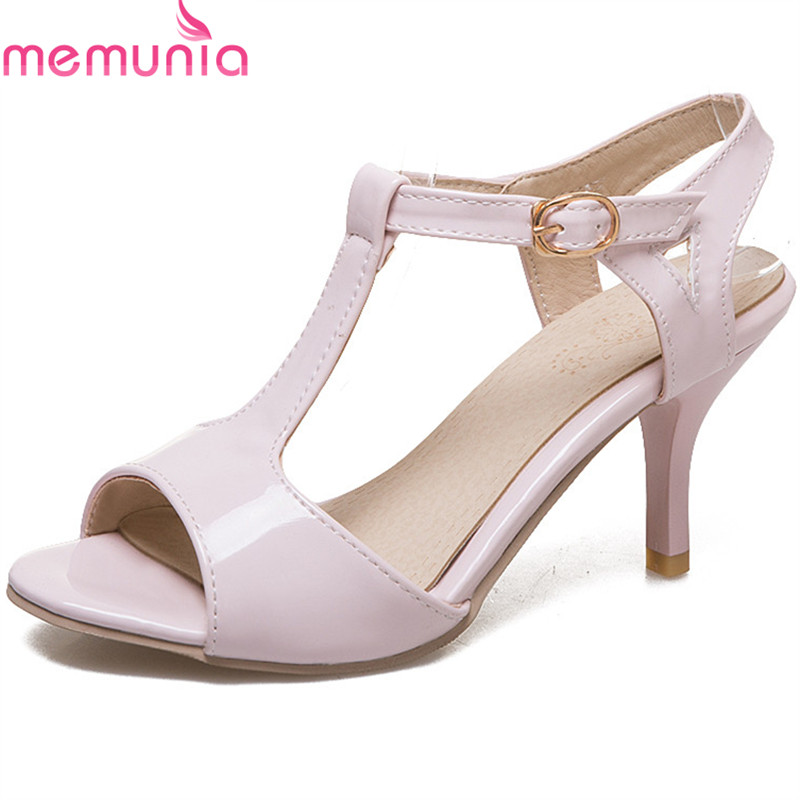 MEMUNIA 2018 new style sweet pink peep toe women sandals classic buckle lady shoes party wedding shoes high heels shoes womanMEMUNIA 2018 new style sweet pink peep toe women sandals classic buckle lady shoes party wedding shoes high heels shoes woman