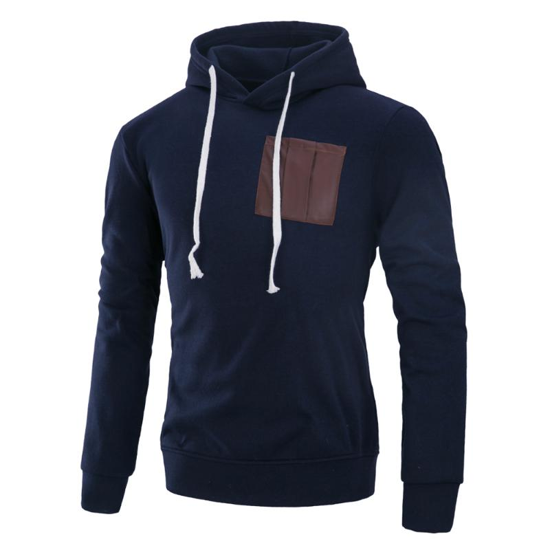 Men Soft Hooded Pullover With Fake Pocket Rope Streetwear Autumn Winter Sweatshirt With Hat Cheap Price