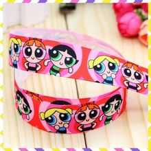 Powerpuff Girls Ribbon Hairbow Printed Grosgrain Party-Decoration 5yards DHK Wholesale