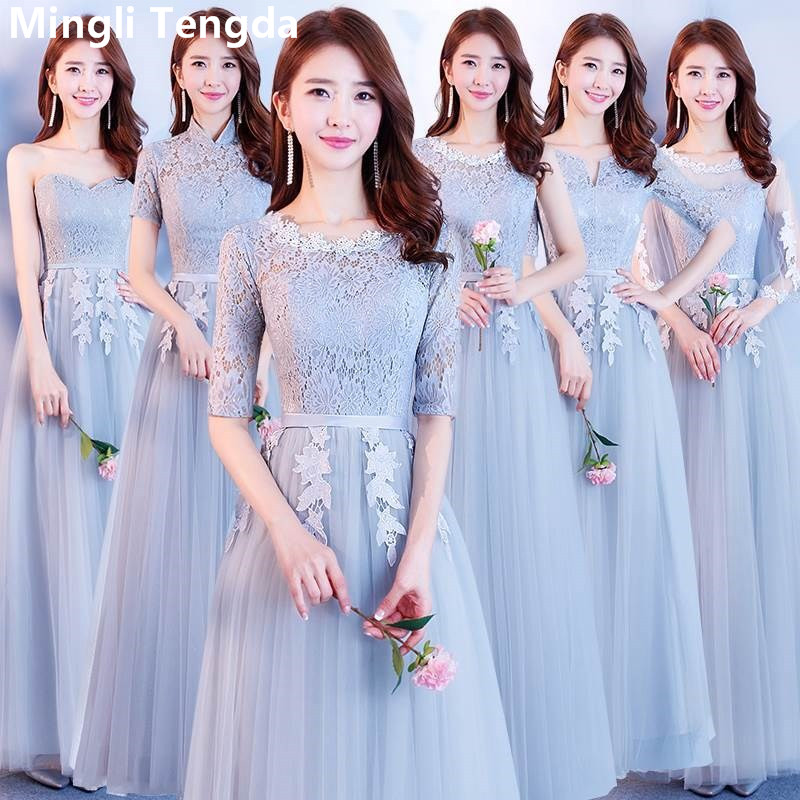 Mingli Tengda Elegant Gray Long   Bridesmaid     Dresses   2019 New Simple O-Neck Half Sleeves   Dress   for Party vestido de festa longo