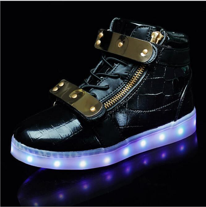 High Top PU Glowing Sneakers LED Light Shoes Boys Girls Toddler/Little Kids/Big Kids Flashing Board Rechargeable Color Casual glowing sneakers usb charging shoes lights up colorful led kids luminous sneakers glowing sneakers black led shoes for boys