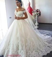 Vintage Luxury Lace For Wedding 2018 Modest Appliques Off The Shoulder Princess Bride Dresses Weding Gowns robe de mariage