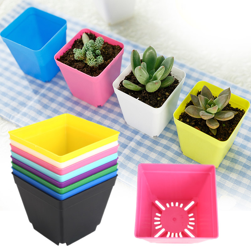 Mini Flower Pot Square Planters Multi-Meat Basin Colorful 10*10cm 8 Color Plastic Planters Pot Trays Plant Care Garden Pot