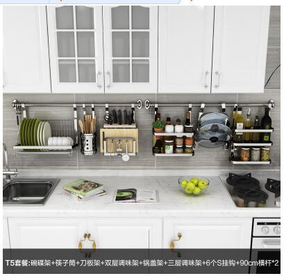 304 Stainless Steel Kitchen Shelves Wall Hanging Wall With A Thick  Perforated Knife Rack To Hang