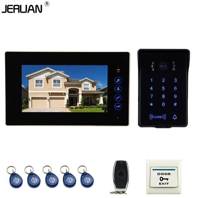 JERUAN Главная проводной 7 ''сенсорный ключ видео домофонные интерком системы 700TVL RFID водонепроницаемый сенсорная клавиша пароль клавиатуры камеры