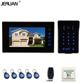 JERUAN Home wired 7`` touch key video door phone intercom system 700TVL RFID waterproof touch key password keypad camera