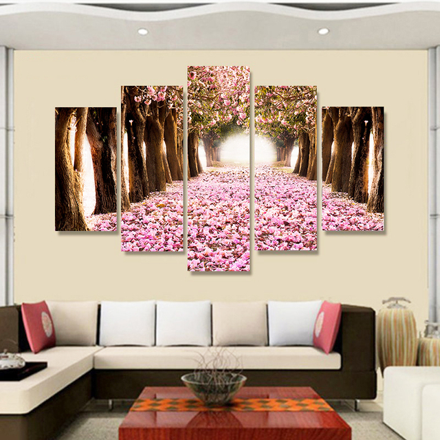 5 Piece Forest Modern Sea Wall Art High Definition Screen Printed Images Picture Living Room