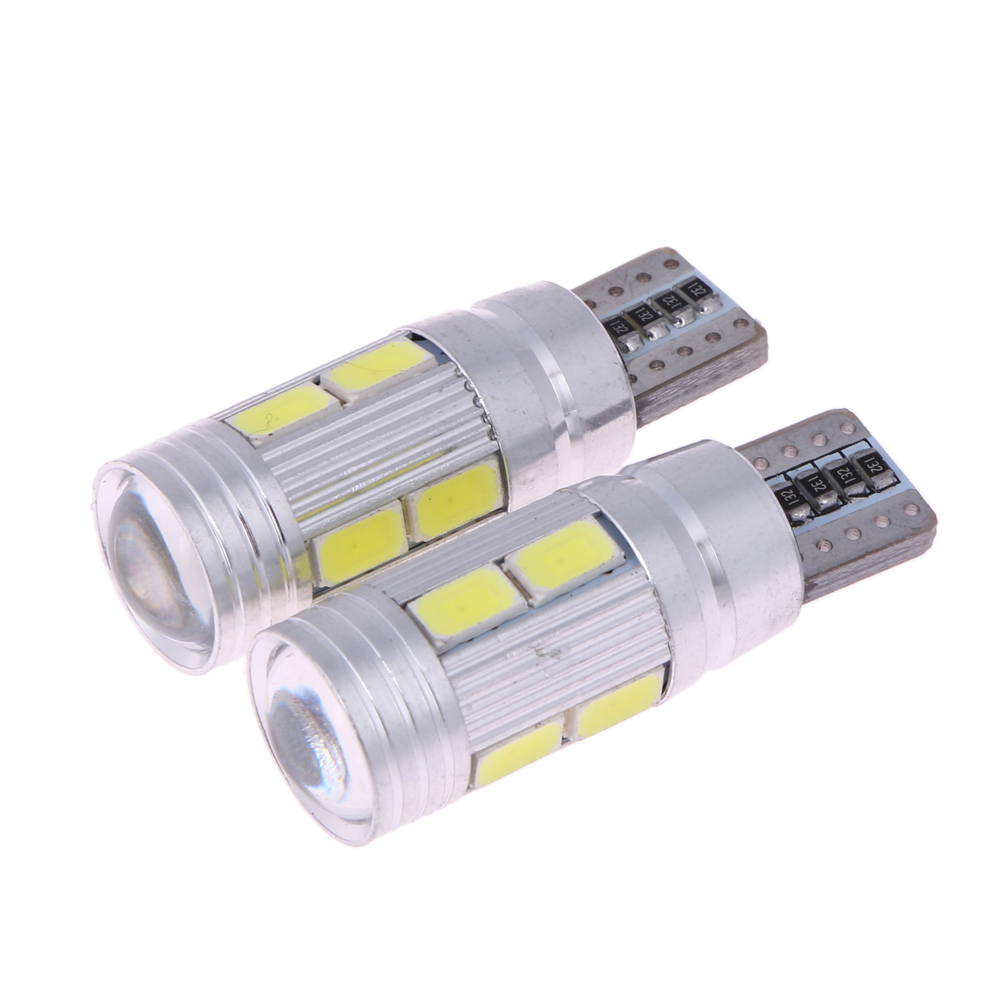 2 X T10 Show Wide Light Canbus T10 5630 10SMD W5W 12V 6000K Car Led Lamp License Plate Map Reading Light Bulb ME3L 10pcs t10 501 194 w5w 5630 smd led car interior light bulb hid canbus error free wedge auto dome map door trunk parking lamp