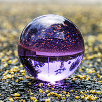 H&D Purple Crystal Ball 80mm with Stand for Photography Home Decoration (crystal purple)