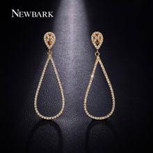 Newbark elegante teardrop pendientes de oro amarillo plateado cuelga el pendiente de calidad superior cubic zirconia joyería de la boda bijoux