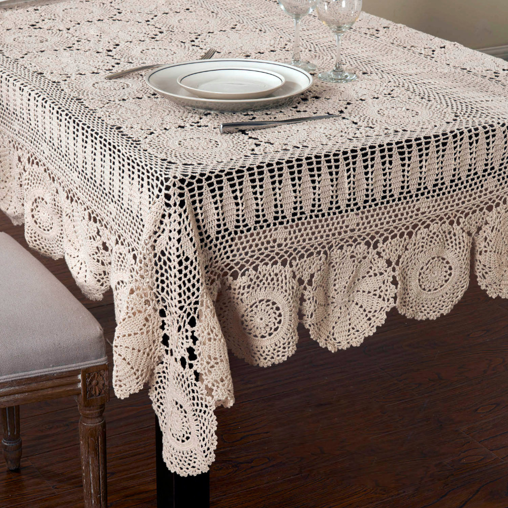 Handmade Crocheted Cotton Tablecloths Beige crochet lace tablecloth