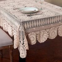 Handmade Crocheted Cotton Tablecloths Beige crochet lace tablecloth