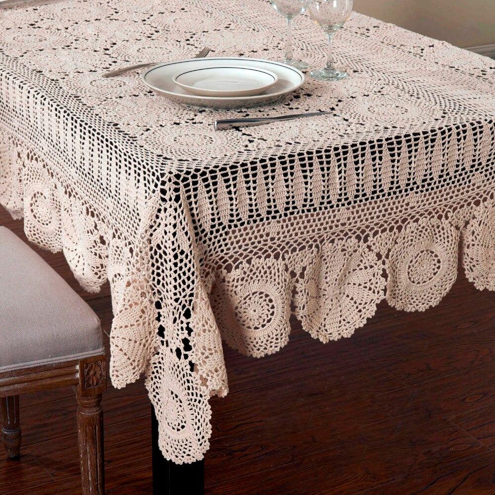 Nappes en coton au crochet faites à la main nappe en dentelle au crochet Beige-in Nappes from Maison & Animalerie    1