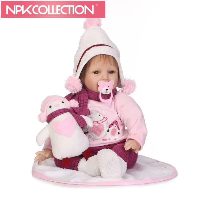 22inches new Real Reborn Bonecas Kid's Toys Cute Princess DIY Dolls Boy Girl Brinquedos Gift Baby Accompany with Penguin Toys hot sale toys 45cm pelucia hello kitty dolls toys for children girl gift baby toys plush classic toys brinquedos valentine gifts