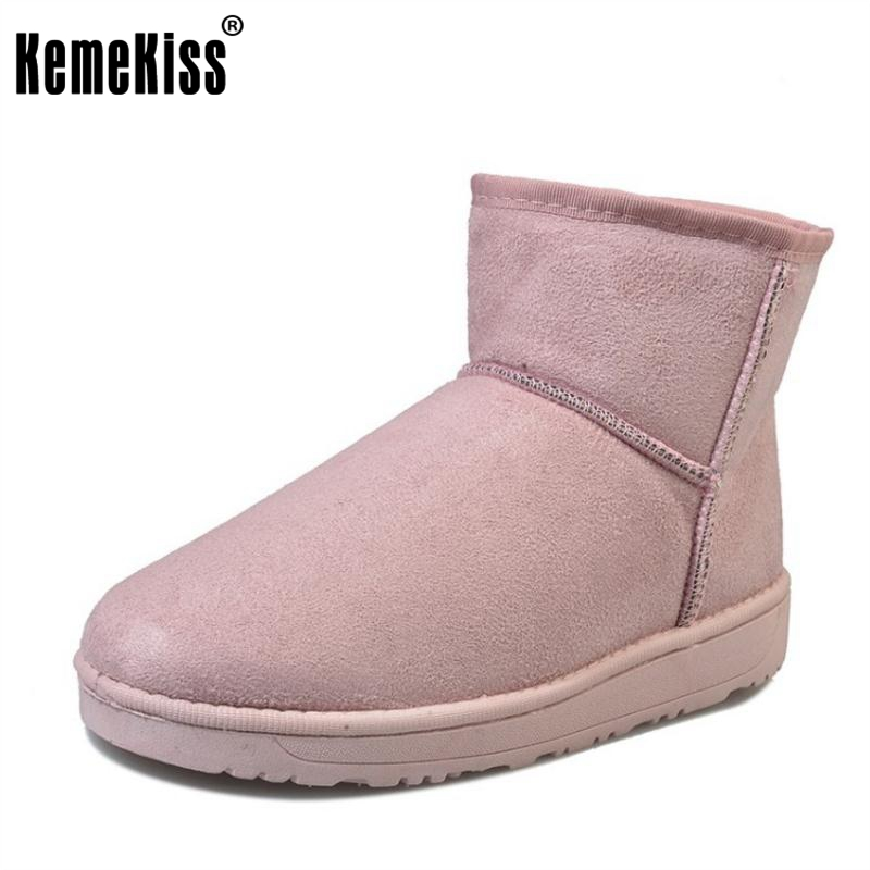 KemeKiss 6 Colors Women Mid Calf Boots Warm Fur Flats Boots Cold Winter Shoes Thick Fur Short Botas Women Footwears Size 36-40 double buckle cross straps mid calf boots