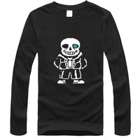 Hot Sale Funny Skeleton Cartoon Black T Shirt Men Slim T Shirt Men White Loose Long