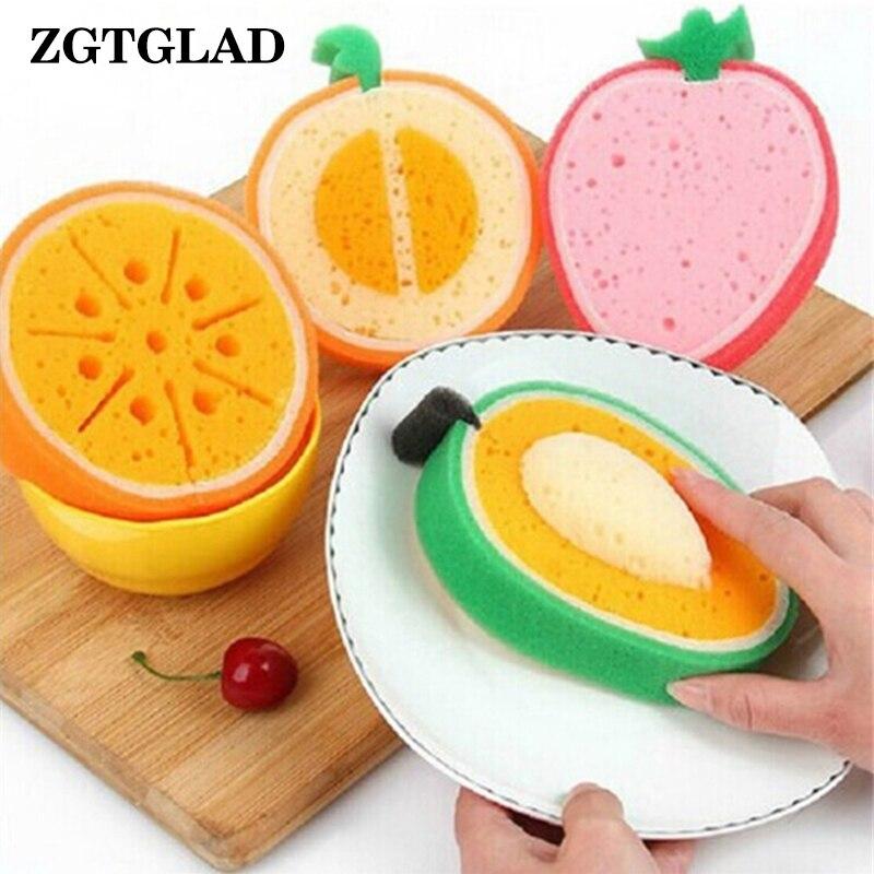 ZGTGLAD 1Pcs Magic Foam Sponge Cute Fruits Wipe Sponge Clean Wash Dish Cup Household