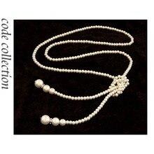 Collar largo clásico Vintage de perlas con borlas de cristal de alta calidad para mujer chica suéter cadena accesorios de boda novia regalo