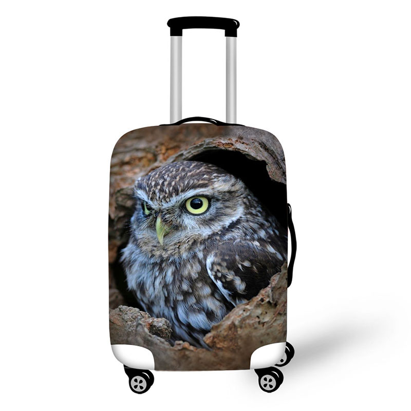 Animal Owl Print Protective Baggage Cover For 18-30 Inch Trolley Suitcase Elastic Waterproof Travel Luggage Cover