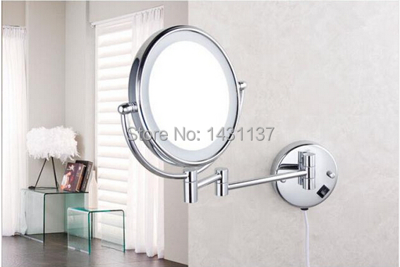 High quality 3 times chrome plating 8' magnifying mirror brass material LED double faced make-up mirror with equipped