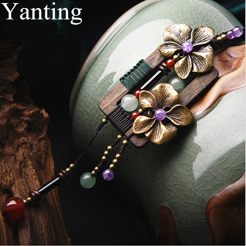 Yanting Bronze Flower Long Necklace Square Wood Vintage Necklace Aventurine Crystal Ethnic Handmade Sweater Necklaces For Women