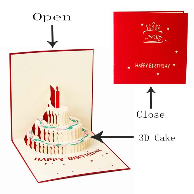 Ynaayu 1pcs 3d pop up card happy birthday greeting cards handmade ynaayu 1pcs 3d pop up card happy birthday greeting cards handmade design beautiful cake mold card m4hsunfo