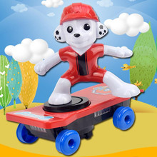 Cute Puppy Electric Toy Stunt Scooter Rotating Tumbling With Light Music Cartoon Scooter Finger Skateboard Kids Boy And Girl Toy