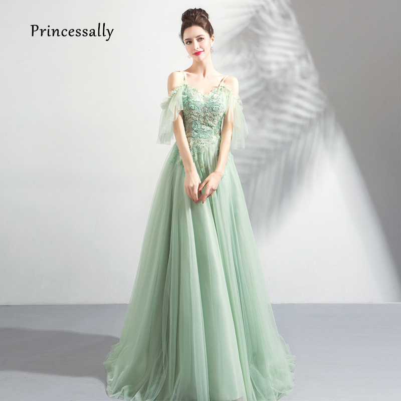 b4684cad006c New Elegant Mint Green Evening Dress Floor Length Sweetheart Embroidery  Beading Sexy Illusion Formal Gown Robe De Soriee 2019