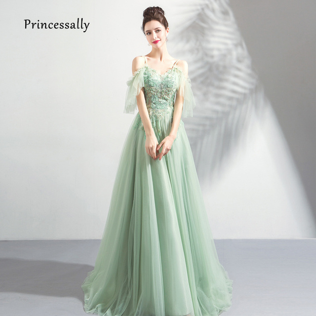 62e993e17e20 New Elegant Mint Green Evening Dress Floor Length Sweetheart Embroidery  Beading Sexy Illusion Formal Gown Robe De Soriee 2019