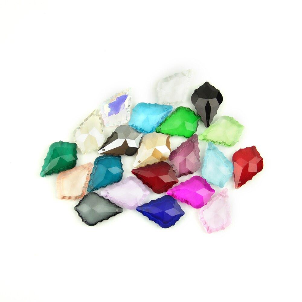 38/50mm 10~100pcs Colorful Crystal Maple Leaf Glass Lighitng Chandelier Prism Parts Crystal Chandelier Pendants For Home Decor