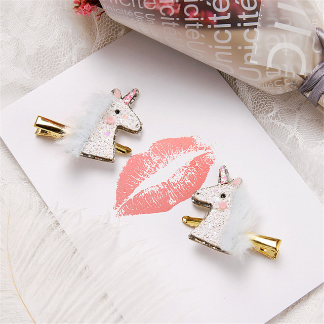 Glitter Unicorn Design Women's Hair Clips 6 pcs Set