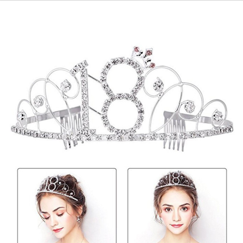 ... BABEYOND Crystal Tiara Birthday Crown Princess Crown Hair Accessories  Silver Rhinestone Diamante Happy 16182030405060708090th Birthday ... 1f897d692799