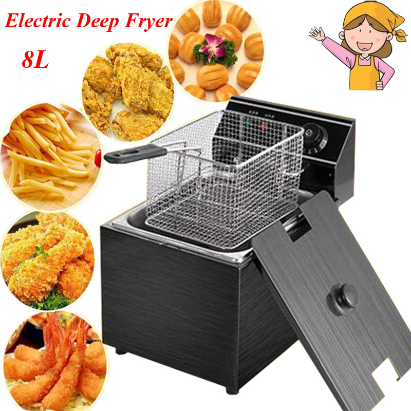 8L Electric Deep Fryer Blast Furnace Cylinder Thickening Fryer Grill Fried Chicken Fried Dough Sticks Furnace Fries Machine free shipping duplex cooking noodles furnace malatang electric fryer blast multi function equipment