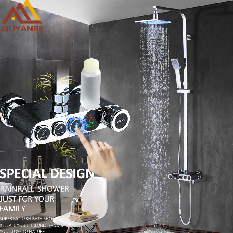 Quyanre LED Digital Display Shower Faucets Set LED Shower 3-way Brass Mixer Tap Swivel Tub Spout Digital Bathroom Shower Faucet quyanre matte black shower faucet set 4 way shower with commodity shelf bidet spray swivel tub spout 4 way mixer tap bath shower