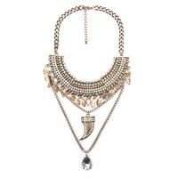 Punk Popular Gold Plated Chili Teardrop Design Pendant Multilayer Necklace Boho Bib Statement Ladies Necklaces Gold