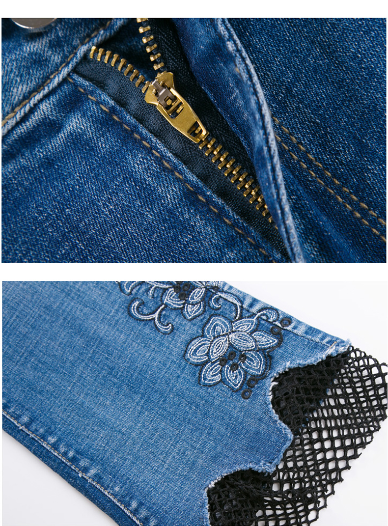 KSTUN jeans trousers for women high waist slim fit flared pants embroidery floral bell bottoms lace net pantacourt homme large 21