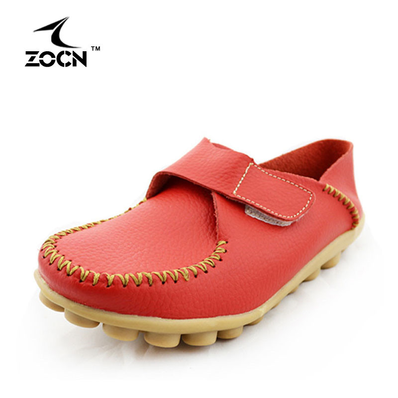 ZOCN 2016 New Women Shoes Woman Flats Loafers  Fashion And Comfortable Casual Shoes HookLoop Convenience Genuine Leather Shoes