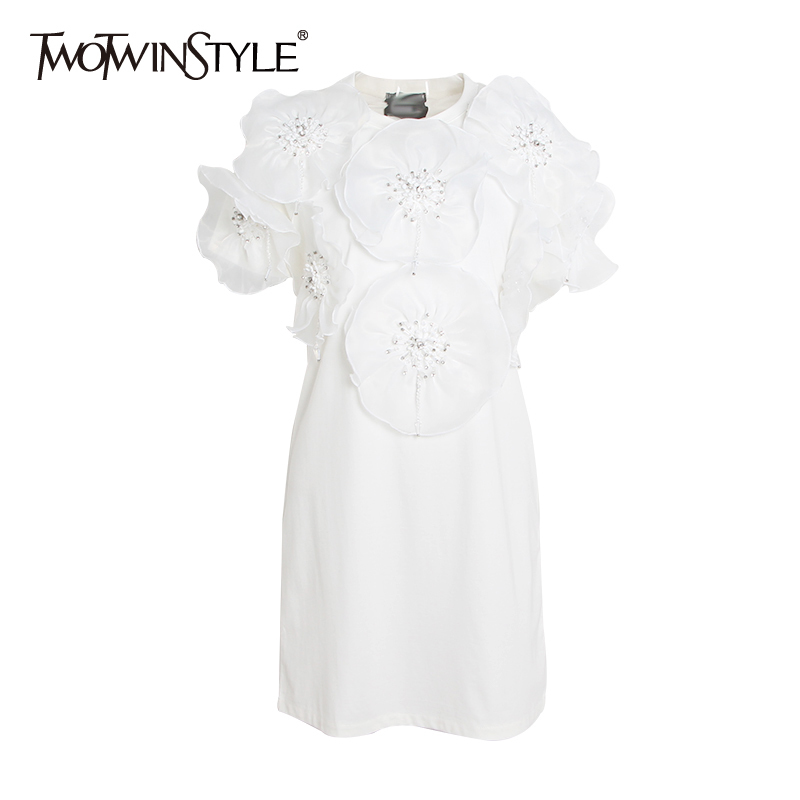TWOTWINSTYLE Beading Flower T shirt Dress Female Short Sleeve Casual Dresses Women Summer Black White Long