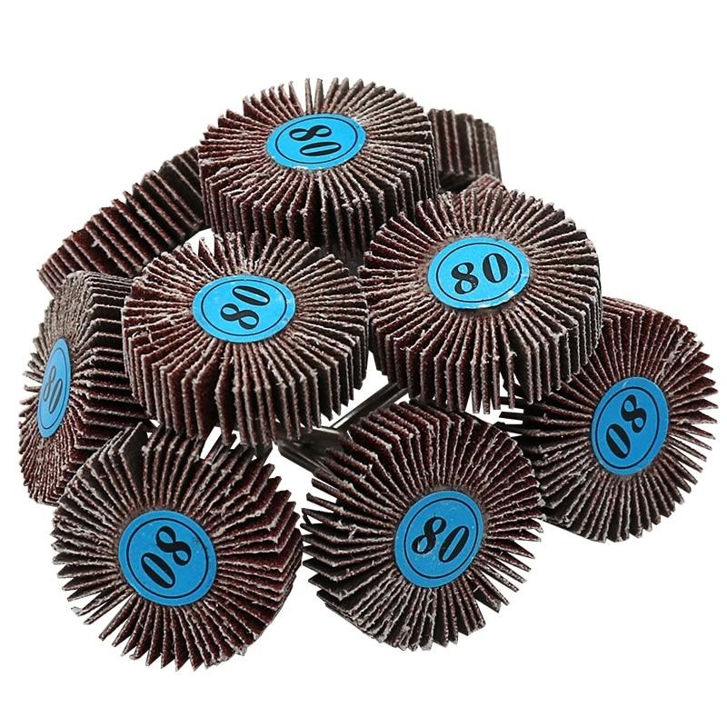 Jeu de disques abrasifs en papier de verre (80 grains), 5 pièces, avec roue de polissage à volet, pour outils rotatifs électriques Dremel