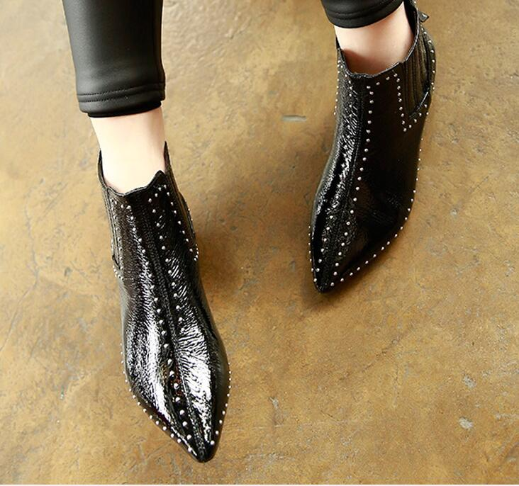 Noir Rivets Bout Chaussures En Pointu Femmes Talon Faible Verni Chevalier Cuir Bottes Cheville Moto C3 EHD9Ie2WYb