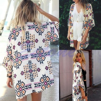 Free shipping Free Shipping Sexy Women Chiffon Geometry Loose Shawl Kimono Stylish Boho Coat Jacket
