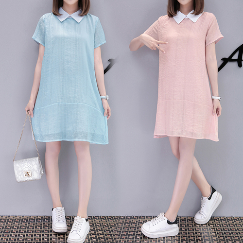 Summer Dress Women 2018 Korean Style Sweet Peter Pan Collar Short Sleeve Slim A Line Mini