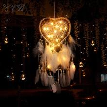 White/Pink Dream Catcher Wind Chimes Led Lamp Feather Hunter Substance Crafts Dreamcatcher Hanging Decorations