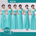 bridesmaid dress chifon bridemaids elegant long auqa turquoise blue bridesmaids dresses sweetheart 2017 free shipping B1507