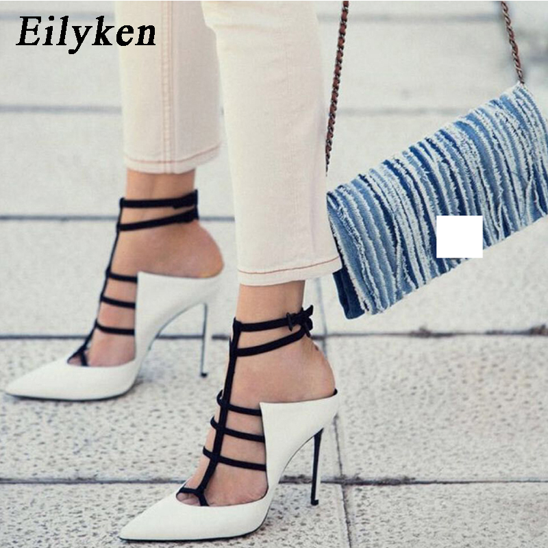 Eilyken 2019 New Design White High Heels Pumps Sandals 12CM Fashion Pointed Toe Buckle Strap Gladiator Thin Heel Woman Shoes