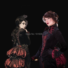 Tailored!18 century Red Black Lace Eras Halloween Theatre DRESS Renaissance Gothic Theater medieval Reenactment dresses HL-302