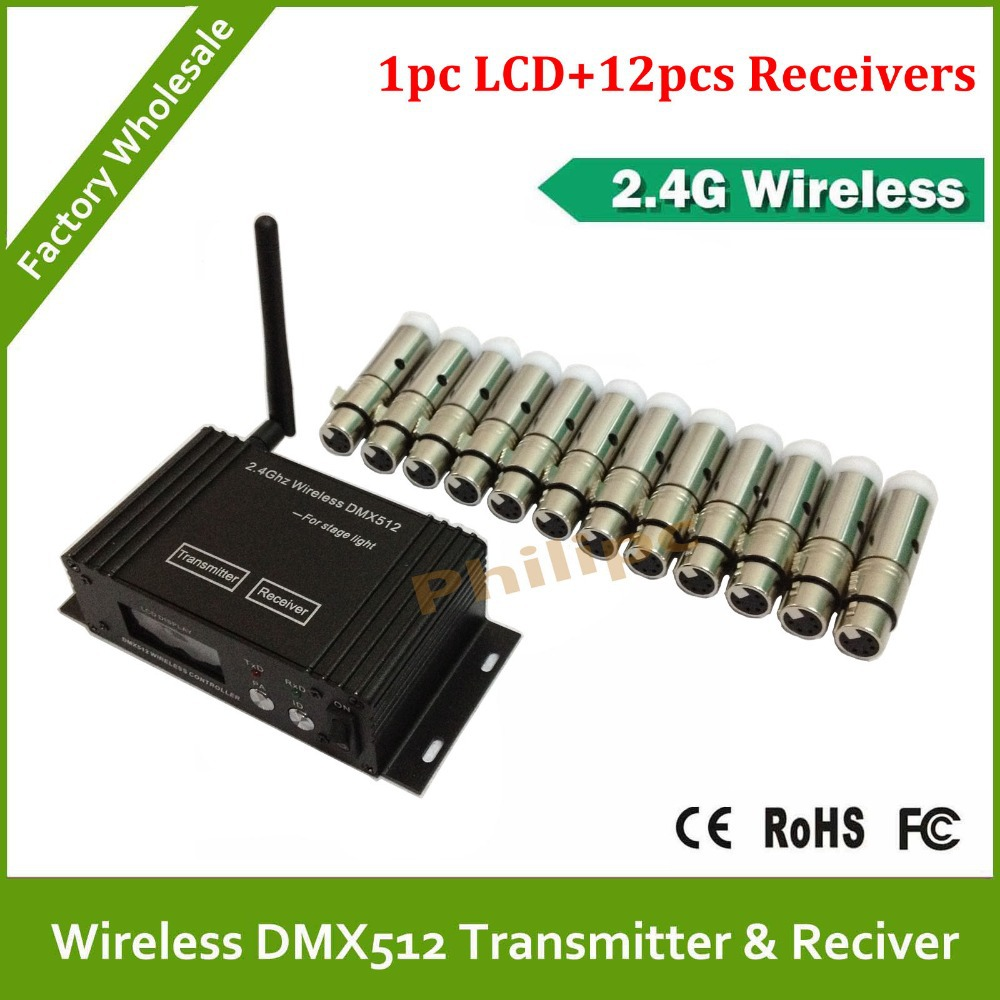 DHL free shipping Wireless DMX LED Lighting Controller 2.4G wireless receptor and transmitter